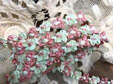 "VINTAGE FRENCH ROCOCO Satin Florettes TRIM RIBBON 1yd 3/8"" Pink & Mint"