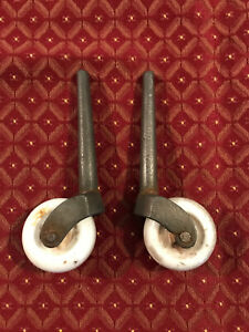"Pair of late 1800's 3"" Stem, Porcelain Furniture 1 5/8"" Wheel Casters, Free S/H"