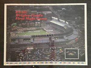 Vintage 1988 Poster Wrigley Field First Night Game Chicago Cubs Uncut Print