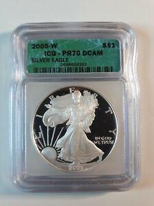 2005-W Silver Eagle $1 Dollar ICG PR70 DCAM MINT 📈