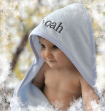 Personalised  Hooded Bath Towel Baby Girl/Boy Unisex 3 colours Blue pink / white