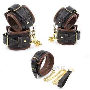 Brown-Bondage-Padded-Leather Wrist-Ankle-Cuffs Handcuff Collar Restraint Toy
