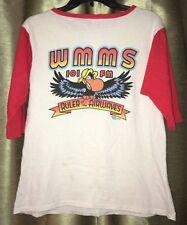 Vintage 80's Cleveland Wmms 101 100.7 Fm Radio Buzzard Henley Raglan T-Shirt Xs
