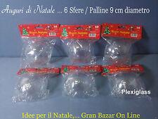 NATALE PALLINE SFERE PLEXIGLASS 6 Pz Diam. 9 cm. DECOUPAGE PATCHWORK LAVORETTI