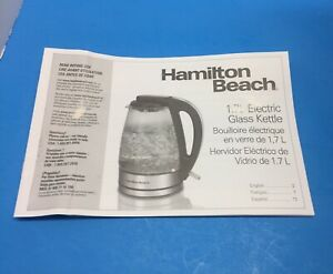 Hamilton Beach Model K39 Electric Kettle Directions Only!!