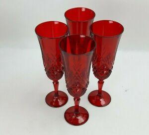 4x Ruby Red 19.5cm Champagne Flutes / Glasses - Vintage