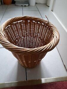 Vintage Large 11in Wicker Waste Paper Basket