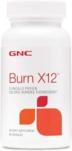 GNC Burn X12, 60 Capsules (Clinically Proven Calorie-Burning Thermogenic)