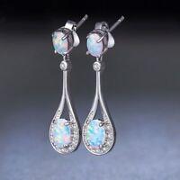 Fashion 925 Silver Women Jewelry Opal Wedding Party Gift Dangle Drop Earrings