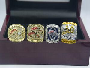 4 Pcs 1997 1998 2013 2015 Denver Broncos World Championship Ring //
