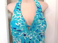 Womens Fashion Bug Blue White One Piece Halter Bathing Swim Suit Dress SKIRT 18