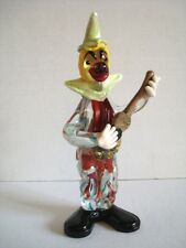 """Vintage Early Murano Glass Clown w/ Guitar Musician Seguso Great Face Hands 10"""""""
