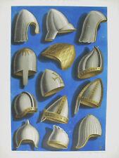 Equipement militaire casque IXe Xe et XIe siècl lith XIXe 1858 Hangard et Maugé