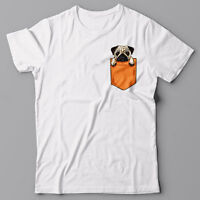 CUTE PUG T-shirt with Printed Pocket - dog - Graphic Tee