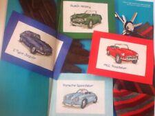 (P) Vintage Sports Car Cards Jaguar Porsche Austin Healey Cross Stitch Chart