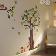 Kids Nursery Wall Stickers Animal Tree Monkey Elephant Lion Owl Fox Childrens