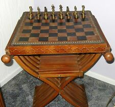 V.G Condition Vintage Chess Set W/ Leather Chessboard & Intricate Wood Stand