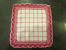 ancien petit napperon carré carreaux rouge et blanc galon