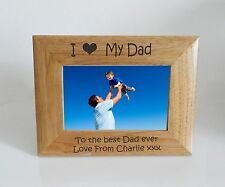 Dad Photo Frame 7 x 5 - I heart-Love My Dad 7 x 5 Photo Frame - Free Engraving