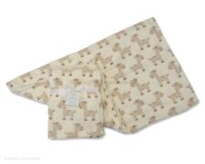 Soft minky cream & brown baby blanket with giraffe design 75 x 100 cm