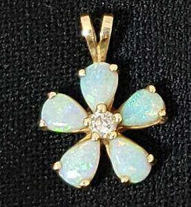 Opal Pendant 14K Yellow Gold Flower Shape Diamond Center Beautiful Colors