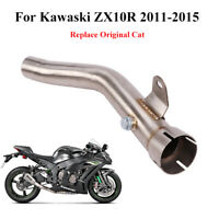 Ninja ZX10R Exhaust Connect Tube Mid Link Pipe Delete Cat For Kawasaki 2011-2015