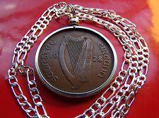 "1928 Irish Rare Penny Pingin Coin Pendant on 28"" 925 Sterling Silver Chain"