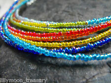 "15-17"" beaded choker necklace rainbow MOONSHINE red orange yellow blue turquoise"
