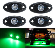 4Pcs Aluminum 9W Bright Green LED Rock Lights Accent Under Car Body For Jeep