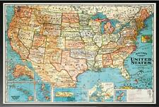Vintage Map of United States Parchment Poster in Black Wood Frame 20 X 28
