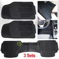 3pc Set FlexTough Shell Rubber Floor Mats Black Heavy Duty Deep Channels for Car