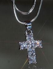 6 x Princess Created Diamond Cross Pendant + Nacklace
