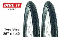 """NEW 26""""x1.40"""" NARROW MOUNTAIN BIKE TYRES CYCLE TYRES PAIR IDEAL FOR ROAD USE"""