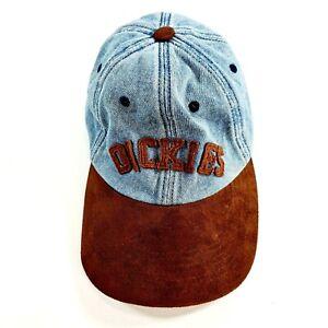 Vintage DICKIES Denim & Brown Suede Adjustable Hat Cap