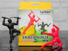 Snack Ninjas Novelty Food Bag Clips, Pack of 6 Red and Black, Food Lovers Gift