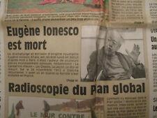 JOURNAL DU DECES DE : EUGENE IONESCO - 29/03/1994 -