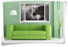 3D Fenster Wandbild Wandtattoo Aufkleber Löwe Afrika Savanne Löwin Wohnzimmer