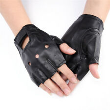 PU Leather Black Driving Motorcycle Biker Fingerless Gloves Men Women Gloves A2H