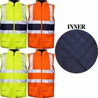 Mens Heavy Duty High Hi Vis Work Quilted Body Warmer Padded Fleece Gilet Vest