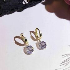 4Ct Round Cut VVS1//D 7mm Diamond Drop & Dangle Earrings 18K Yellow Gold Finish
