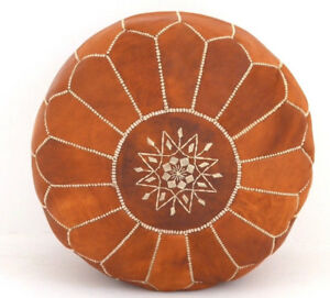 Extra Large Moroccan Luxury  Leather Tan Pouf Hand Stitched and Embroider