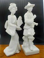 FITZ & FLOYD PORCELAIN ASIAN JAPANESE ORIENTAL MAN & WOMAN STATUE FIGURINE 1977