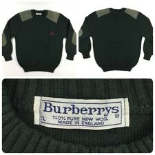 Vintage BURBERRYS Mens Wool Sweater Crewneck Suede Elbow Patch Shoulders Green L