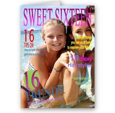 Personalised Photo, Sweet 16, Sixteen, Magazine Theme, A5 Birthday Card