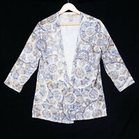 Chico's Women's White Floral Paisley Open Front Cardigan Sweater - Size 2 Large