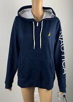 NWT Nautica Women's Signature Logo Navy Blue Hoodie Sweatshirt Jacket Size Large