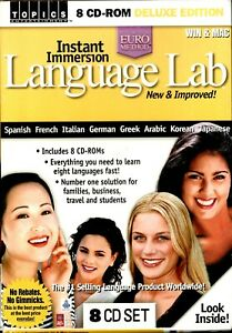 Instant Immersion Language Lab Deluxe Pc New Boxed 8 Cd Roms Learn 8 Languages