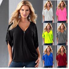 Femmes Chemise Chemisier Haut Blouse V-cou Loose T-shirts Hauts En vrac Chemises