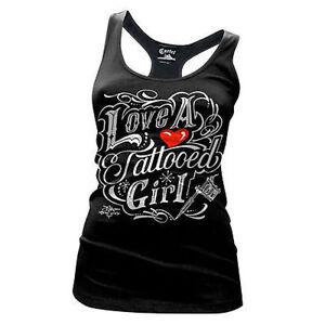 Cartel Ink Love A Tattoed Girl Tattoo Racerback Juniors Tank T Tee Shirt S-Xxl