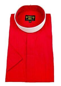 "Men's Red Short Sleeve Full Collar Neckband Clergy Shirt w/1.50"" Soft Collar"